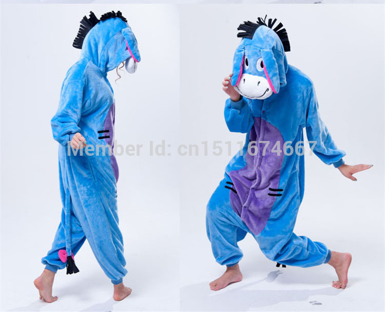 Soft Flannel Cartoon Anime Djur Onesie Pajama Eeyore Donke Kostym (Slipper ingår ej) - Halloween Carnival Party Clothing