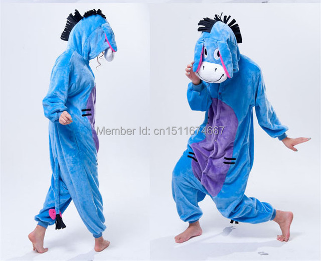 Soft Flannel Cartoon Anime Animal Onesie Pajama Eeyore Donkey Costume (Slipper Not Included) - Halloween Carnival Party Clothing