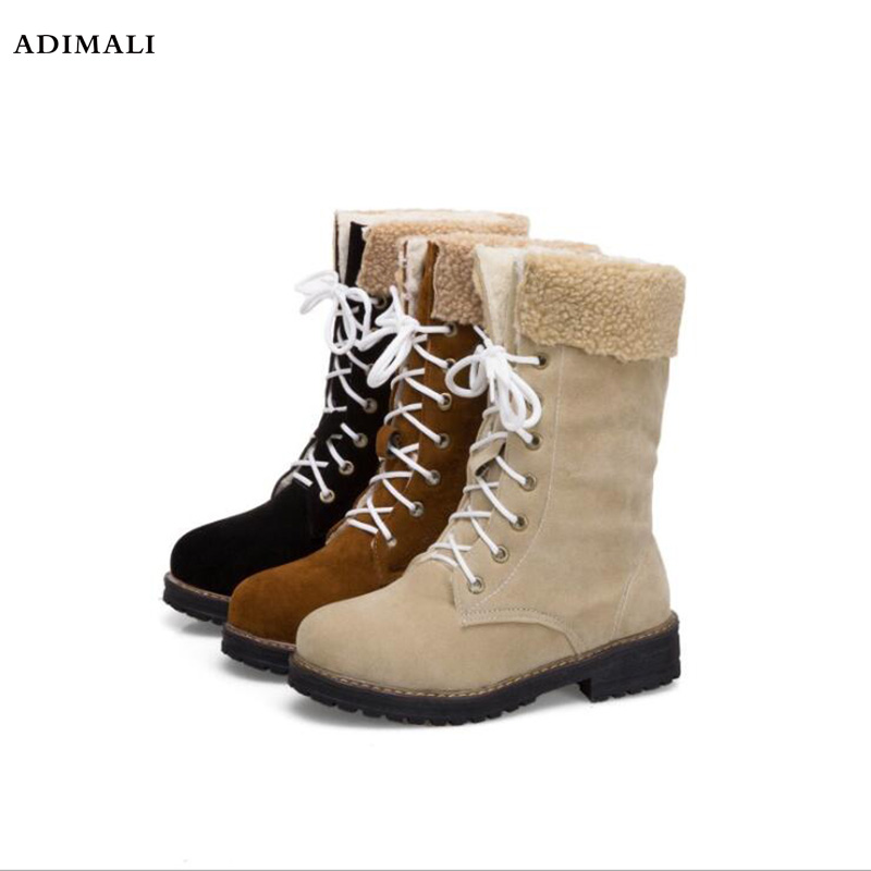 Fashion rubber Cotton Boots Winter Women Mid calf Boots with Fur Leather Up Ladies Shoes Plus