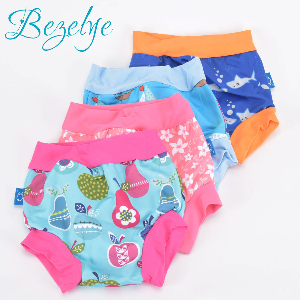 High Waist Baby Swim Diaper For Boys Waterproof Spa Swim Diapers For Swimming Nappies Washable Reusable Baby Trunks For Swimming