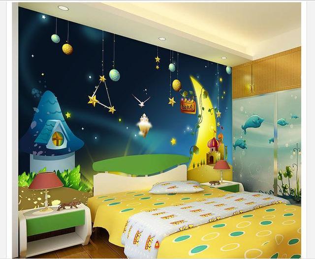 Custom muurschildering d vliesbehang cartoon ster kinderen