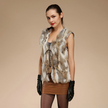 Autumn Women's Genuine Real Spliced Rabbit Fur Vest Ladies Cardigan Waistcoat Female Gilet Outerwear VF0554