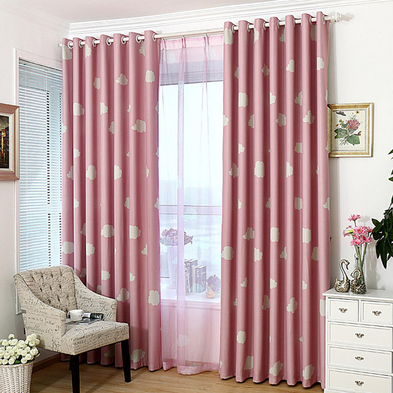 White Cloud Pink Blackout Children Curtains For living Room Blue ...
