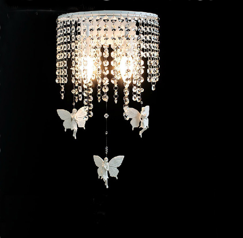 Nordic Crystal Light Wall Angel Butterfly Wall Lights For Home American Vintage Parede Bedroom Luminaire Led E14 Abajur Novelty novelty led wall lamps glass ball wall lights for home decor e27 ac220v