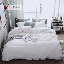 Liv-Esthete Pure White Luxury Bedding Set Soft Home Duvet Cover Flat Sheet Double Queen King Adult Bed Linen Bedspread As Gift