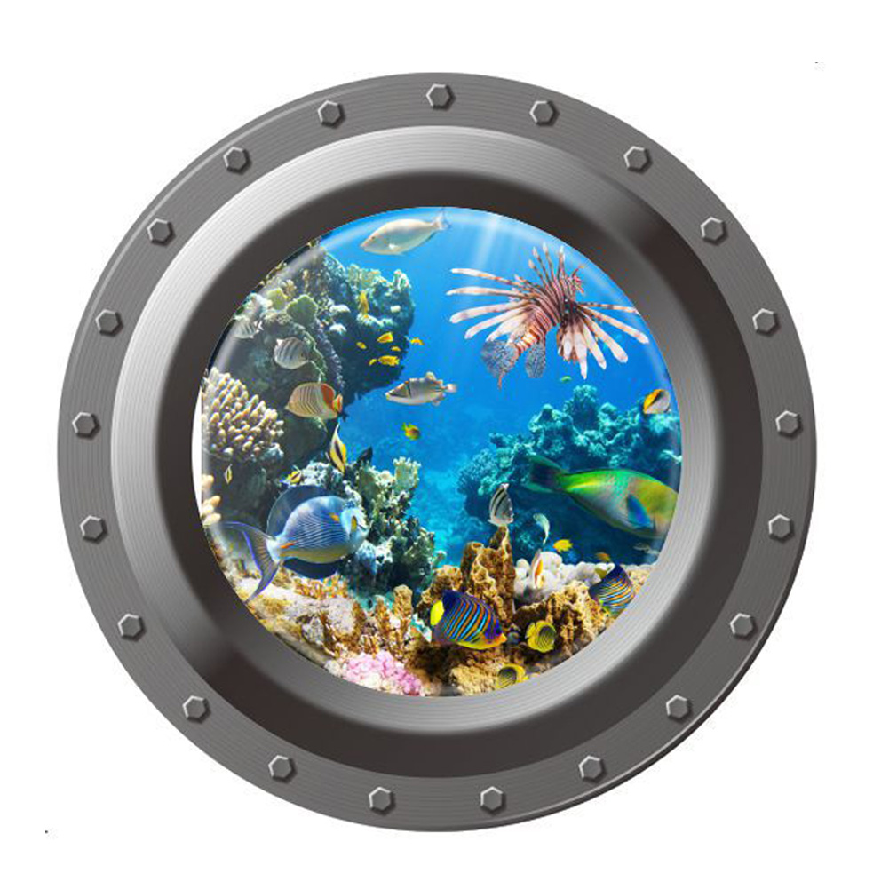 Bathroom wall art sea - 3d Ocean View Fish Window Wall Sticker Nursery Bathroom Decals Sea World Portal Peel Stick Sea