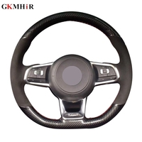 DIY Fiber Leather Black Suede Car Steering Wheel Cover for Volkswagen Golf 7 GTI Golf R MK7 VW Polo GTI Scirocco 2015 2016