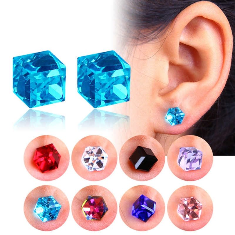 Beauty & Health Toiletry Kits Shock-Resistant And Antimagnetic 1 Pairs Weight Loss Magnetic Water Cube Health Magnet Ear Stud For Women Girls 9 Colors 1x1x1cm Waterproof