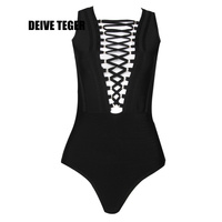 DEIVE TEGER One Piece Gold Grommet Cross Lace Up Sexy Plunge Neckline Bandage Women Bodysuit Bodycon