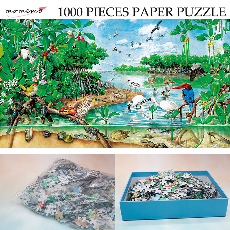 MOMEMO The Mangrove Natural Landscape Puzzle 1000 Pieces Paper Original Hand-painted Ecosystem Jigsaw Puzzle Exquisite Toys Gift