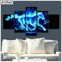 Animal Diamond Painting Horse Unicorn Full Square Drill Mosaic 3d Embroidery Wolf 1 Set 5pcs