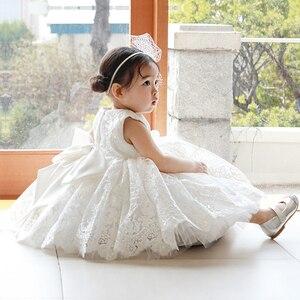 Платье для маленьких девочек кружевные фатиновые платья для крещения с бусинами и блестками для девочек, вечерние платья для первого дня ро...