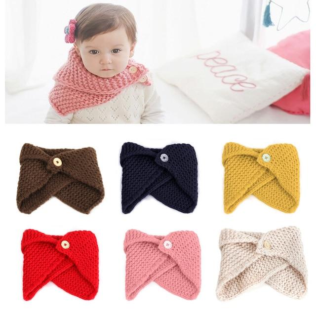 Новый Модный зимний шарф для маленьких мальчиков и девочек, накидка с воротником и пуговицами, вязаный шерстяной шарф ручной работы