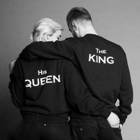 Sugarbaby The King and His Queen matching Sweatshirt Pullover Long Sleeve King Queen Jumper Couple's Clothing Drop ship