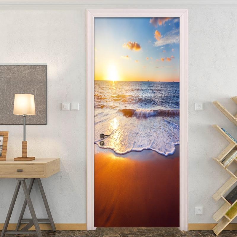 Custom Mural Wallpaper Beautiful Sea Landscape 3D Door Sticker PVC Waterproof Moisture-Proof Wallpaper Living Room Home Decor 3D
