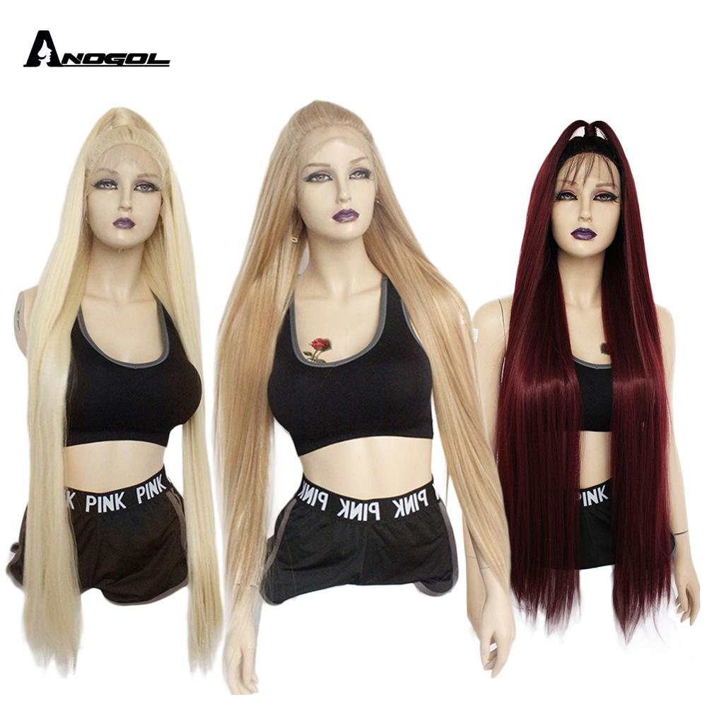 ANOGOL Futura Fiber 42 Inch Long Straight Platinum Blonde 613 Black Synthetic Lace Front Wig Peruca For Women Full Wigs