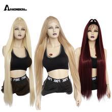 ANOGOL Futura Faser Zoll Lange Gerade Platin Blonde 613 Schwarz Synthetische Spitze Vorne Perücke Peruca Für Frauen Perücken
