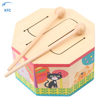 XFC Baby Kids Wooden Rattle Drum Toys Two Mallets Animal Print Educational Musical Percussion Instrument Toy Gift