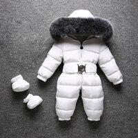 30 градусов Детские зимний комбинезон с натуральным лисьим меховой воротник толстый теплый белый пуховик для мальчиков и девочек зимние ко
