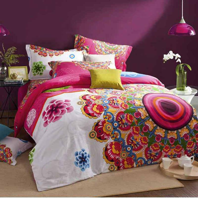 100% Sanded Cotton Fabric bohemia/boho duvet cover set,winter quilt cover+bed sheet+Pillow Sham 4pcs bedding sets queen king
