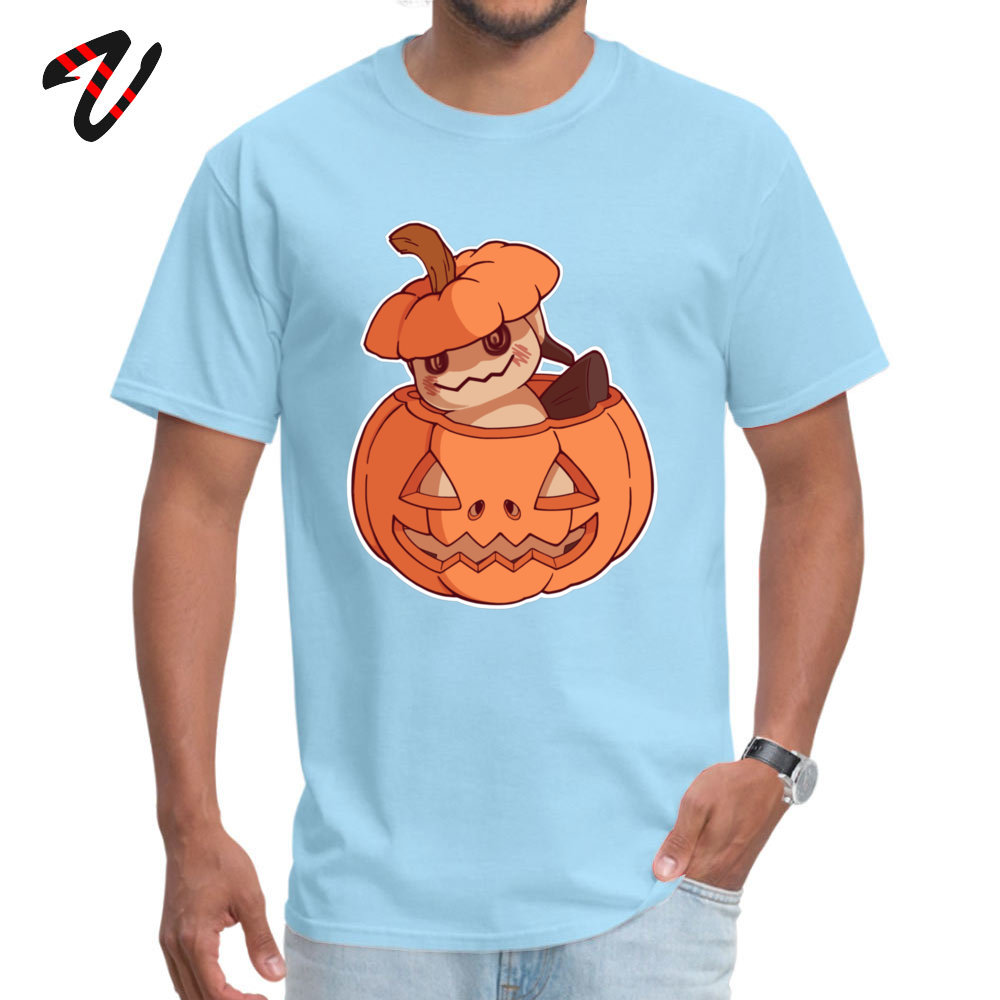 Halloween Mimikyu Normal Top T-shirts for Men Pure Cotton Summer Autumn Tops Shirt Clothing Shirt Short Sleeve Classic Crewneck Halloween Mimikyu 26608 light