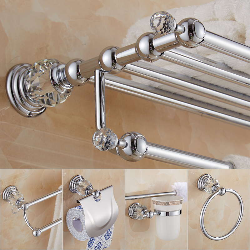 Crystal Bathroom Hardware Set Towel Rack Wall Mount Toothbrush Holder Metal Soap Dispenser Ceramic Bath Accessories In Chrome image