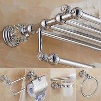 Latão prateleira do chuveiro suporte de papel higiênico prata cristal fixado na parede barra toalha toalete escova titular acessórios do banheiro conjunto