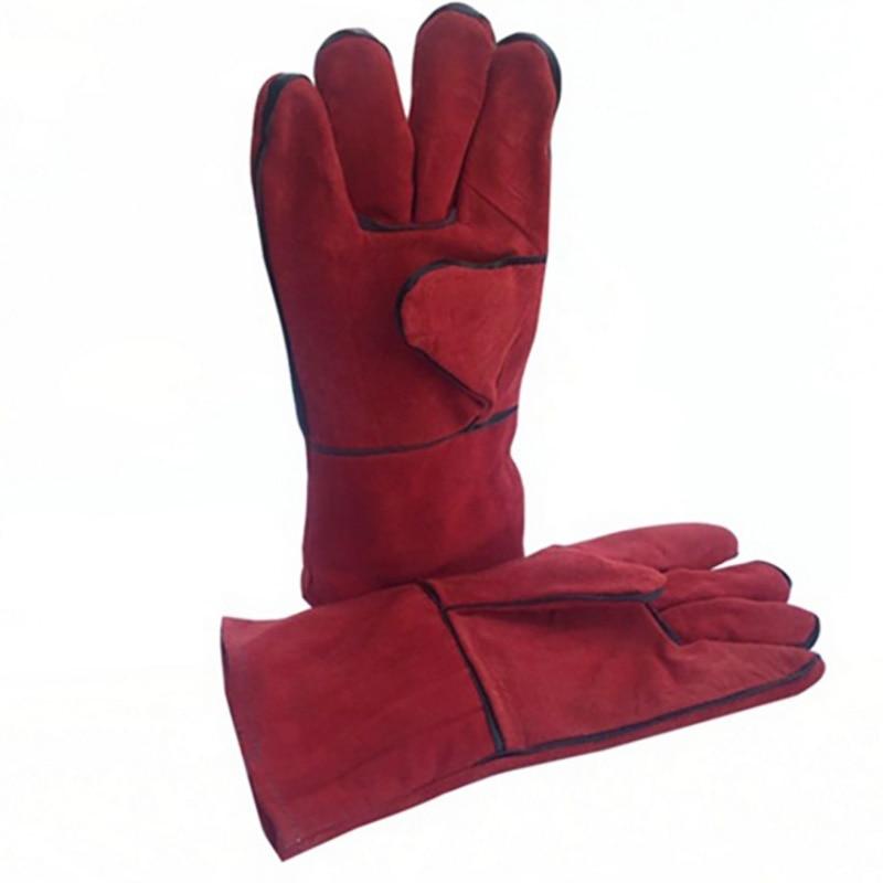 Wytrzymałe rękawice spawalnicze Arc Tig Mig spawacz odporne na ciepło piece skórzane ogień czerwony ogród ochronne rękawice grillowe