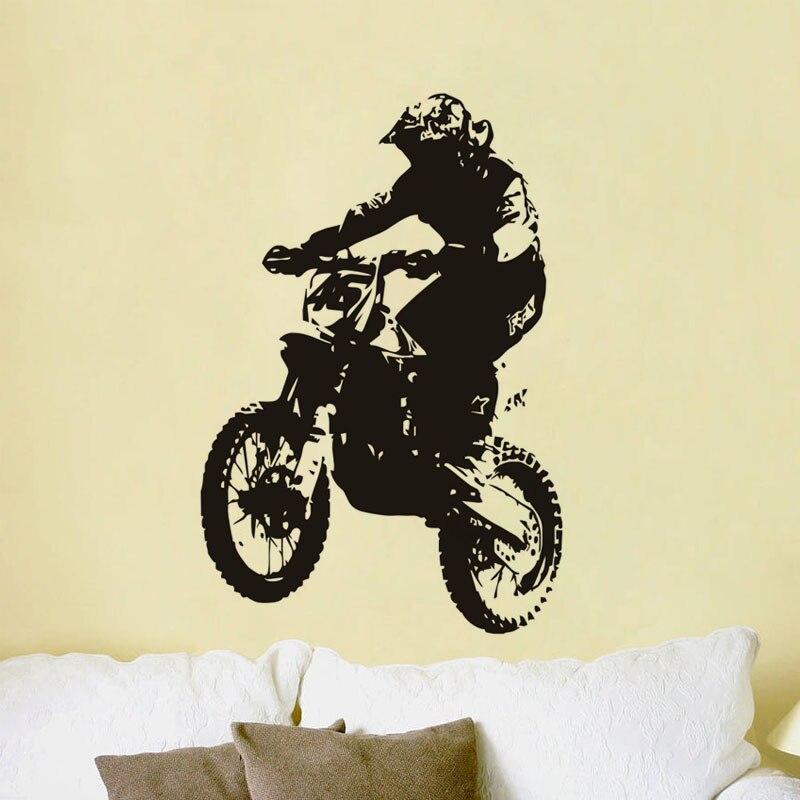 Creative Dirt Bike Rider Home Vinyl Wall Sticker Motor Racing ...