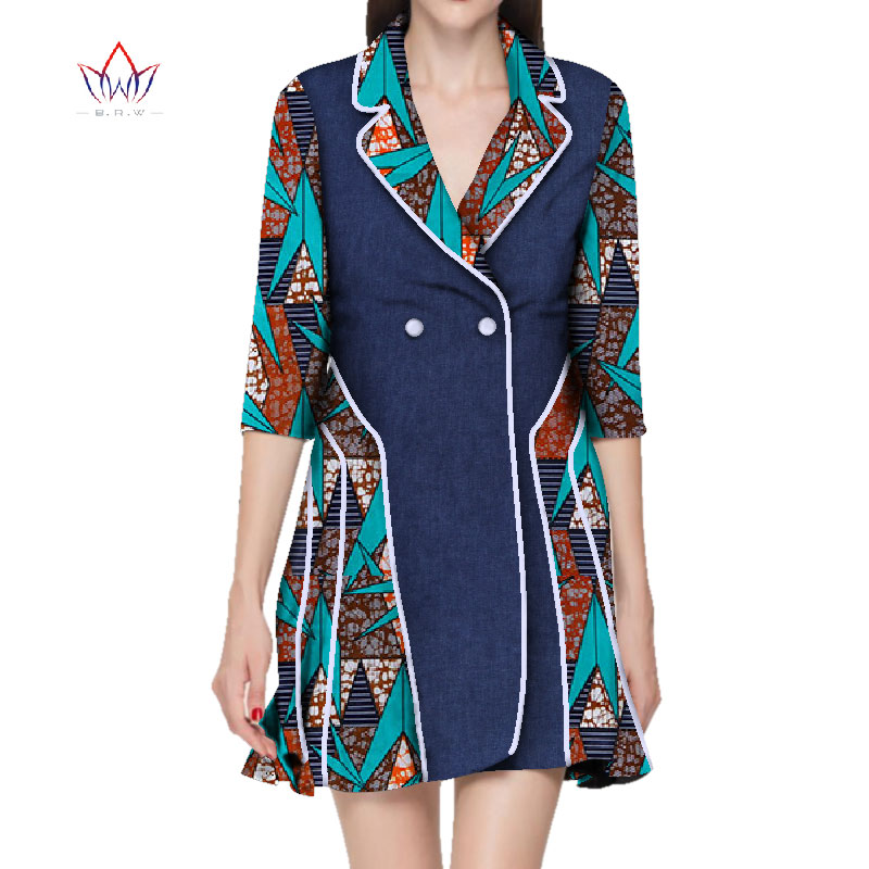 2019 new africa dashiki women dress turn-down collar ladies clothes plus size african print dresses for women 5xl regular WY2817