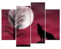 Animal Paintings Wall Art Howling Wolf in a Dark and Cloudy Night with Moon 4 Panel Picture Print For Home Decor Drop shipping