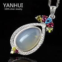 Have Jewelry Certificate Luxury Unique 5 Carat Nature Chalcedony Jade Pendant Necklace 100 925 Silver Jewelry
