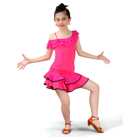 2017 Children Latin Dance Costume Girls Lace Dance Skirt Contest Grading Service