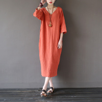 Solid Orange Blue 100% Cotton V neck Women Long Dress Vintage Plus size Loose Casual Summer Dress Linen Robe Longue Femme A025