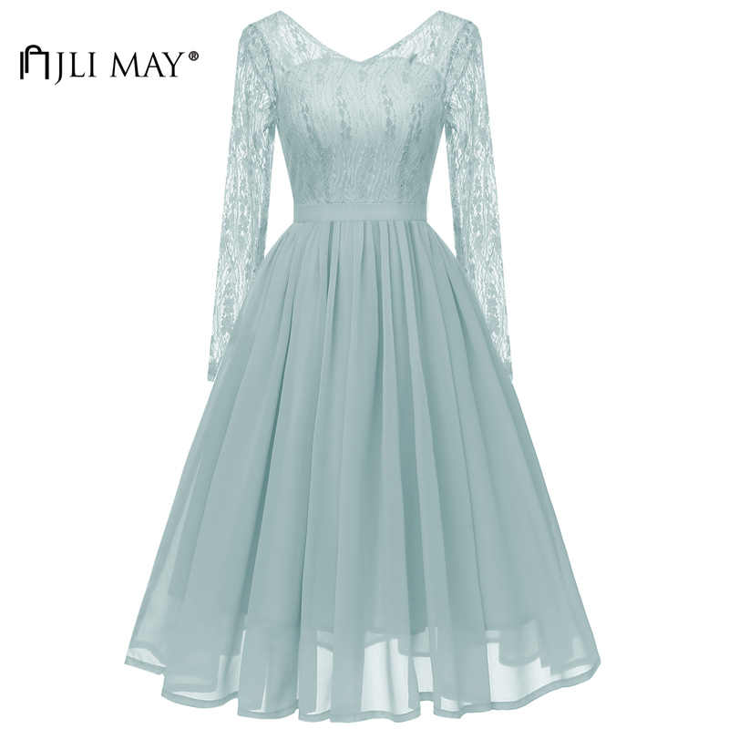 JLI MAY Vintage Long sleeve Lace Dress Party Evening Autumn Fall Women  Chiffon Backless Plain V 3dcac902d0b5