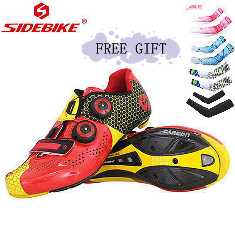 SIDEBIKE Cycling Road Shoes Breathable Carbon Fiber Riding Athletic Racing Team Sapatilha Zapatillas Ciclismo Bicycle Shoes 2018