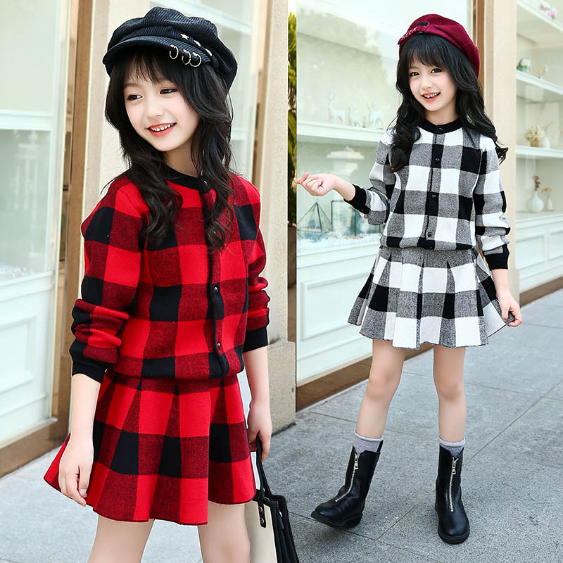 Autumn Winter Fashion Girl Sweater Sets Plaid Top + Skirt 2 Piece Set Girl Clothes Set 6 8 10 12 14 Age dabuwawa 2017 vintage plaid vest skirt natural waisted elegant pencil button skirt autumn winter jumper skirt d17ddx018
