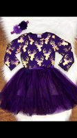 New Baby Girls Clothes Fall Winter Girls Cotton Party Purple Gold Reindeer Dress Girls Party Dress