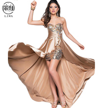 Prom Part Dress Sexy Strapless Crystal Evening Dress Short Robe De High Low Irregular Hem 8 Colors Vestido De Coctel Sexy CK49