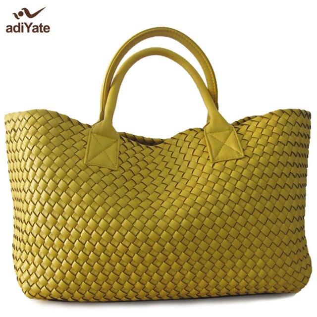 Adiyate largecapacity кожа Вязание сумка кожаная SAC paille пляжная сумка дешевые Для женщин Сумки SAC DOS дамы Bolsa