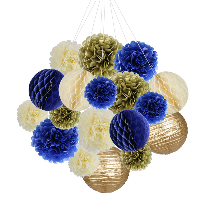 18pcs/set Party Decorations Supplies Kit Pom Paper Flowers Lanterns Honeycomb Balls for Wedding Birthday Baby Showers Festival
