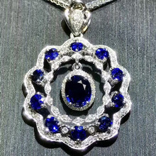 18k gold nautral sapphire pendant with diamond luxury blue gemstone jewelry