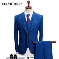 TIAN QIONG 2018 3 Stuks Pak Mannen Plaid Koreaanse Stijl S-4XL blauw/marine Bruidegom Trouwjurk Pak Kostuum Homme Ternos Slim Fit