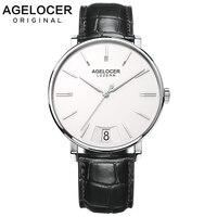 AGELOCER мужские часы Роскошный швейцарский бренд водонепроницаемые мужские часы Sappire ультратонкий 7 мм кварцевые мужские наручные часы XFCS
