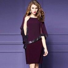 78da86f003a6 H 2018 Summer Elegant Midi Dress Women Sequin Chiffon Fashion Dress Office  Lady Luxury Chic Female Clothes Wine Red Black S