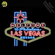 Señal de neón para Las Vegas Nevada de tubo de vidrio de bienvenido a fabuloso estética decoración de la habitación de señal carteles de Pub luz de neón lámpara cerveza Bar