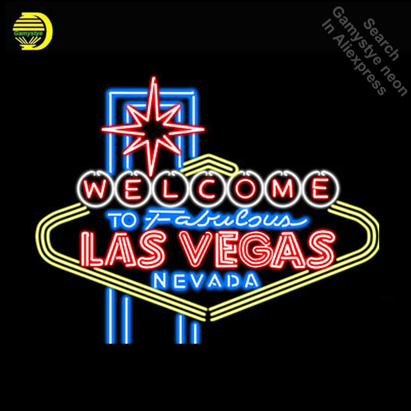 NEON SIGN for Las Vegas Nevada GLASS Tube Welcome to Fabulous Light Sign Store Display Handcraft Design Iconic Sign Pub Signs led080 r walk ins welcome led neon sign whiteboard