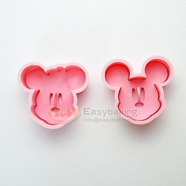 Kitchen Bakeware Baking Tools 3D Biscuit Minnie Mickey Mouse Cookie Cutter and Cookie Stamps