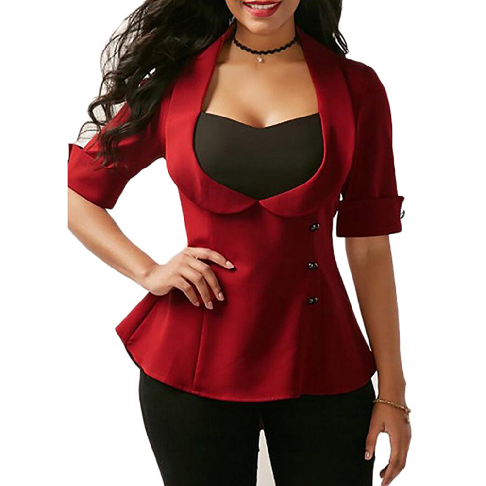 Back Cross Bandage Sexy Elbow Sleeve Patchwork Slim Women V Neck Blazer Pullover