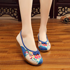 Charming Bright Peacock Embroidery Women Shoes Old Peking Mary Jane Flat Heel Denim Flats With Soft Sole Women Dance Low Heel